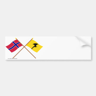 Crossed flags of Norway and Telemark Bumper Sticker