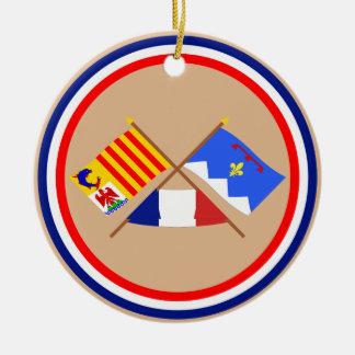 Crossed flags of PACA and Alpes-de-Haute-Provence Round Ceramic Decoration