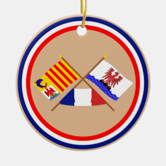 Crossed flags of PACA and Alpes-Maritimes Round Ceramic Decoration