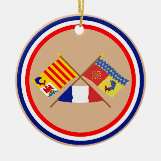 Crossed flags of PACA and Hautes-Alpes Double-Sided Ceramic Round Christmas Ornament