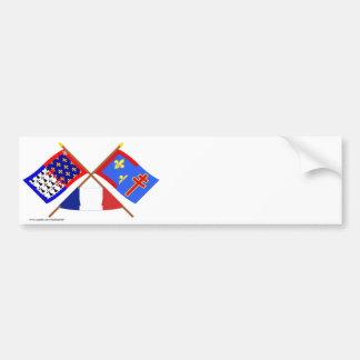 Crossed flags of Pays-de-la-Loire & Maine-et-Loire Bumper Sticker