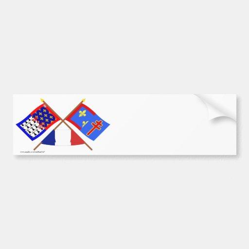Crossed flags of Pays-de-la-Loire & Maine-et-Loire Bumper Stickers