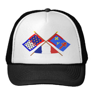 Crossed flags of Pays-de-la-Loire & Maine-et-Loire Cap