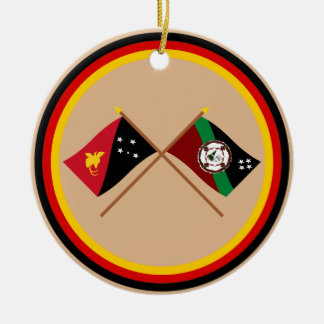 Crossed flags of PNG and East New Britain Province Round Ceramic Decoration