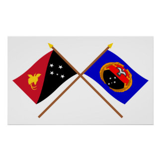 Crossed flags of PNG and Gulf Province Posters
