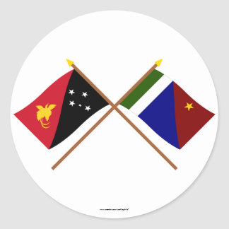 Crossed flags of PNG and Milne Bay Province Round Sticker