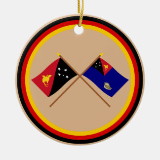 Crossed flags of PNG & West New Britain Province Round Ceramic Decoration