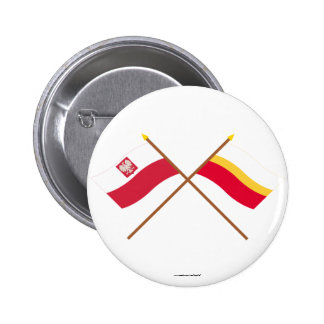 Crossed flags of Poland and Małopolskie Buttons