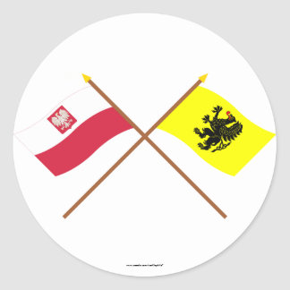 Crossed flags of Poland and Pomorskie Classic Round Sticker