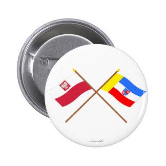 Crossed flags of Poland and Świętokrzyskie 6 Cm Round Badge