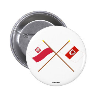 Crossed flags of Poland and Zachodniopomorskie 6 Cm Round Badge
