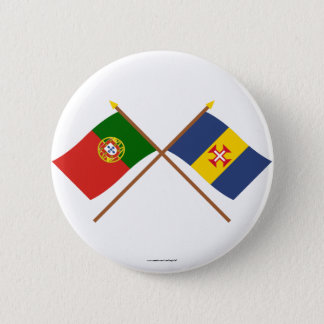 Crossed Flags of Portugal and Madeira 6 Cm Round Badge