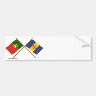 Crossed Flags of Portugal and Madeira Bumper Sticker