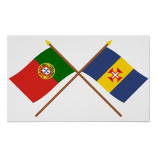 Crossed Flags of Portugal and Madeira Print