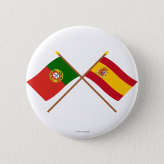 Crossed Flags of Portugal and Spain 6 Cm Round Badge