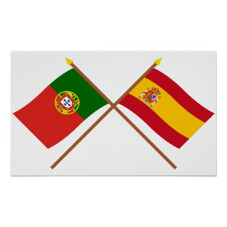 Crossed Flags of Portugal and Spain Print