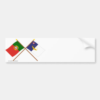 Crossed Flags of Portugal and the Azores Bumper Sticker