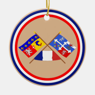 Crossed flags of Rhône-Alpes and Ain Round Ceramic Decoration