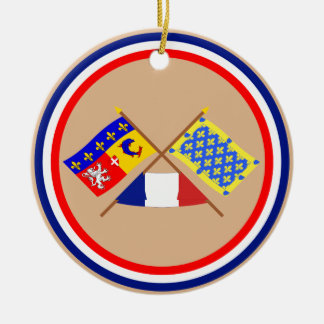 Crossed flags of Rhône-Alpes and Ardèche Double-Sided Ceramic Round Christmas Ornament