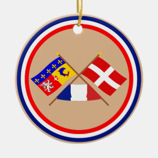 Crossed flags of Rhône-Alpes and Haute-Savoie Double-Sided Ceramic Round Christmas Ornament