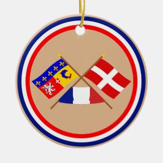 Crossed flags of Rhône-Alpes and Haute-Savoie Round Ceramic Decoration