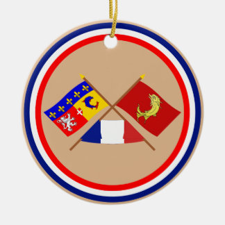 Crossed flags of Rhône-Alpes and Loire Double-Sided Ceramic Round Christmas Ornament