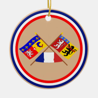 Crossed flags of Rhône-Alpes and Rhône Double-Sided Ceramic Round Christmas Ornament