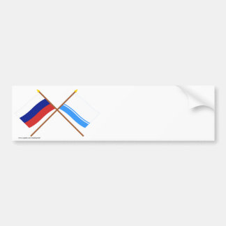 Crossed flags of Russia and Altai Republic Bumper Stickers