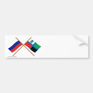 Crossed flags of Russia and Belgorod Oblast Bumper Sticker