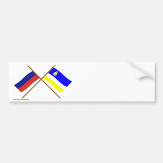 Crossed flags of Russia and Buryat Republic Bumper Sticker