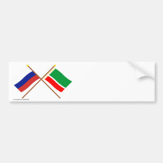 Crossed flags of Russia and Chechen Republic Bumper Stickers