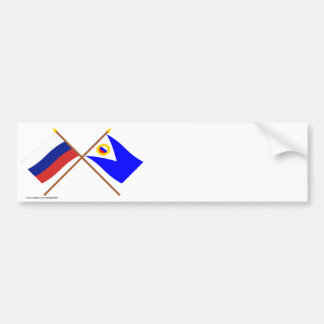 Crossed flags of Russia and Chukotka Auto. Okrug Car Bumper Sticker