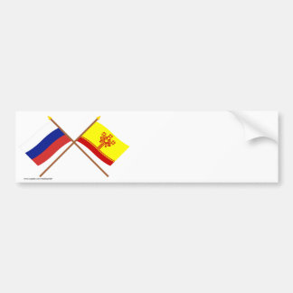 Crossed flags of Russia and Chuvash Republic Bumper Stickers