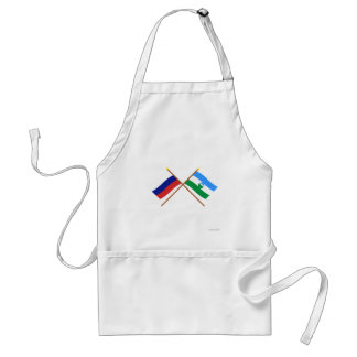 Crossed flags of Russia and Kabardino-Balkar Rep. Standard Apron