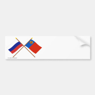 Crossed flags of Russia and Kemerovo Oblast Bumper Sticker