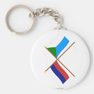 Crossed flags of Russia and Khabarovsk Krai Key Ring