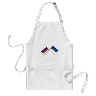 Crossed flags of Russia and Komi Republic Apron