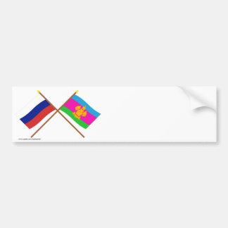 Crossed flags of Russia and Krasnodar Krai Bumper Stickers