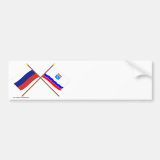 Crossed flags of Russia and Leningrad Oblast Car Bumper Sticker