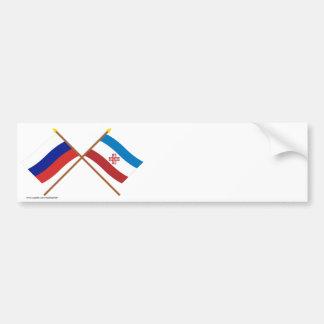 Crossed flags of Russia and Mari El Republic Bumper Stickers