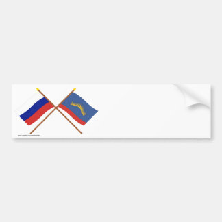 Crossed flags of Russia and Murmansk Oblast Bumper Sticker