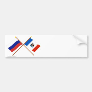 Crossed flags of Russia and Novgorod Oblast Bumper Sticker