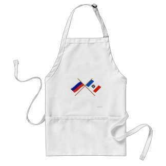 Crossed flags of Russia and Novgorod Oblast Standard Apron