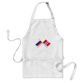 Crossed flags of Russia and Omsk Oblast Aprons
