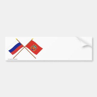 Crossed flags of Russia and Orenburg Oblast Bumper Sticker