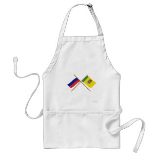 Crossed flags of Russia and Penza Oblast Standard Apron