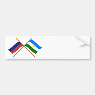 Crossed flags of Russia and Rep. of Bashkortostan Bumper Sticker