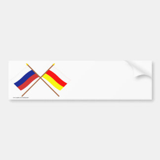 Crossed flags of Russia and Rep. of North Ossetia Car Bumper Sticker