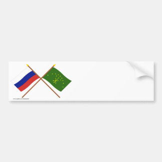 Crossed flags of Russia and Republic of Adygea Bumper Sticker