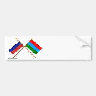 Crossed flags of Russia and Republic of Karelia Bumper Sticker